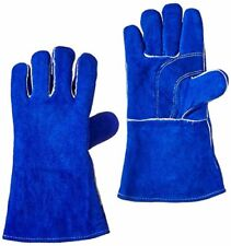 """US Forge 400 Welding Gloves Lined Leather Blue - 14"""""""