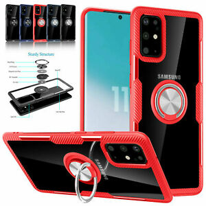 For Samsung Galaxy Note20 Ultra S20 S10 S9 S8 Transparent Ring Case Hybrid Cover