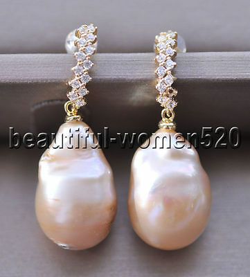 18 mm Gray Baroque Keshi reborn Pearl Dangle Boucle d/'oreille 14K