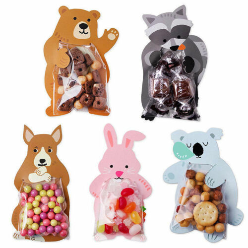10x Animal OPP Bags Cards Kid Vintage Favour Sweet Biscuit Bag Good yua