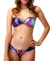 Brazilian Bikini Bottom Swimsuit Semi Thong Set Bandeau Top Purple Sheer Side