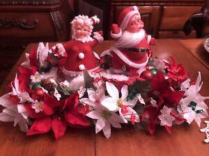 VINTAGE Ugly MR & MRS SANTA CLAUS PLASTIC Felt Christmas ORNAMENTS Holiday Decor