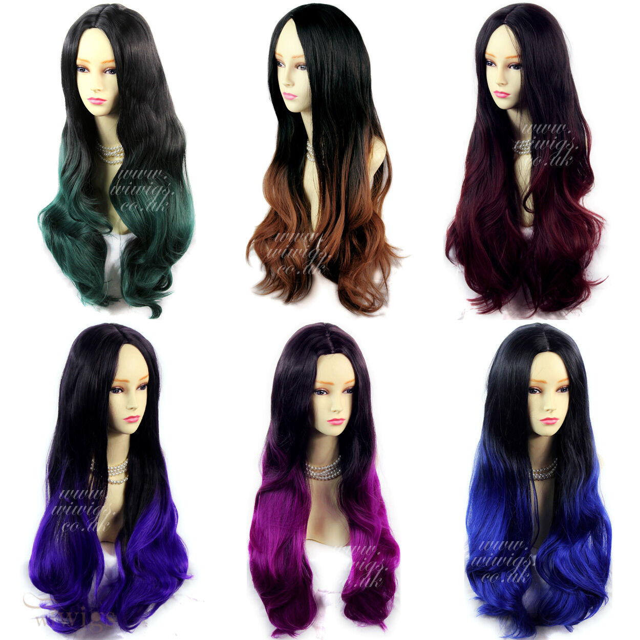 Wiwigs Long Wavy Ombre Dip Dye Ladies Wigs Black Brown Red Blue