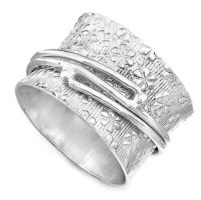 Flowers Pattern Solid 925 Sterling Silver Spinner Ring Wide Band New Choose Size