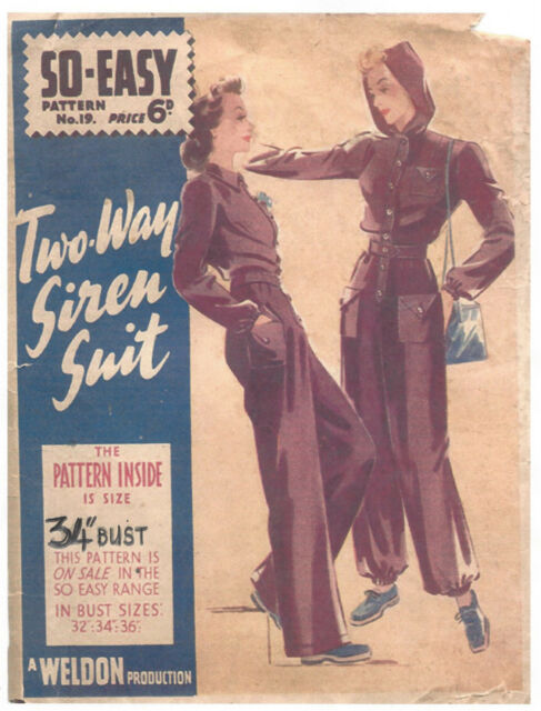 1940 WW2 Vintage Sewing Pattern B34 TWO-WAY SIREN SUIT (1395)