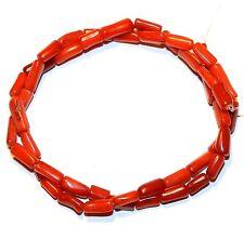 "CRL260f Red Medium 5x4-12x5 Irregular Round Tube Bamboo Coral Gemstone Beads 15"""