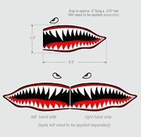 """Flying Tigers shark teeth decal sticker 1.5"""" t x 3.5"""" w WWII Military Airplane"""