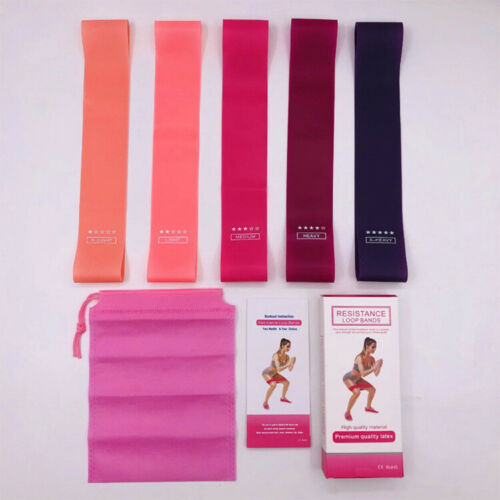 5 Resistance Bands Loop Home Gym Yoga  Set  Exercise Sports Fitness UK
