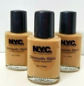 3-PK-NYC-Piel-Suave-Liquido-Maquillaje-sin-Aceite-1-OZ-cada-especiadas-Beige-Unbox