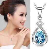 Damen Halskette & Anhänger 925 SILBER Diamant Krawatte Kristall Wasserwelle Blau