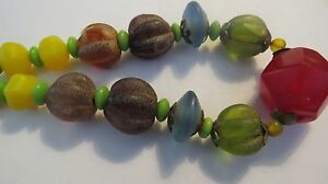 THAILAND-ANCIENT-MULTI-COLOR-Carnelian-JADE-Beads-Hand-Carved-Necklace