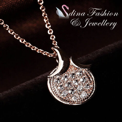 1 of 1 - 18K Rose Gold Plated Simulated Diamond Shiny Crescent Moon Slim Round Necklace