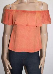 872c1d63fdedc4 ASOS Brand Burnt Orange Off Shoulder Frill Top Size 4 BNWT  SG92 ...