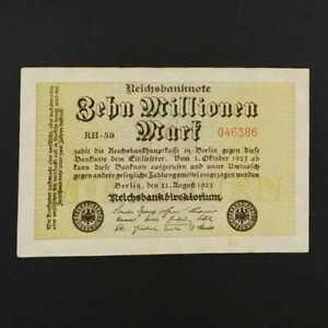German World War Period 1923 10 million Mark Reichsbanknote VF