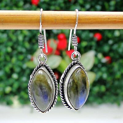 Firey Labradorite & 925 Silver Handmade Mind Blowing Earrings 37mm I151-44057