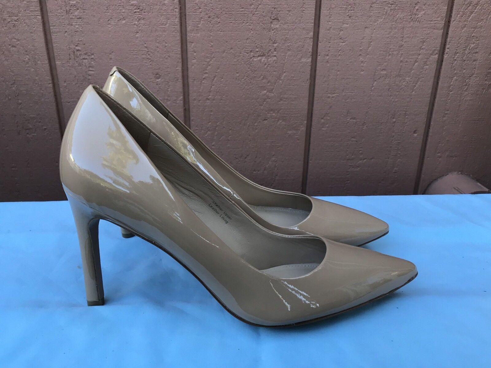 NEW $198 Women's US 9.5M VIA SPIGA Beige Beige SPIGA Patent Leather Pointy Toe Pumps Heel A6 2b06fb