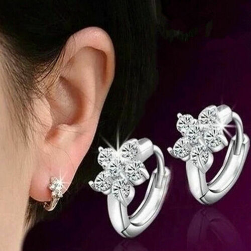 1paar Frauen-Silber überzogene Zircon Schneeflocke Ohrstecker Schmu DE Dame X0O8