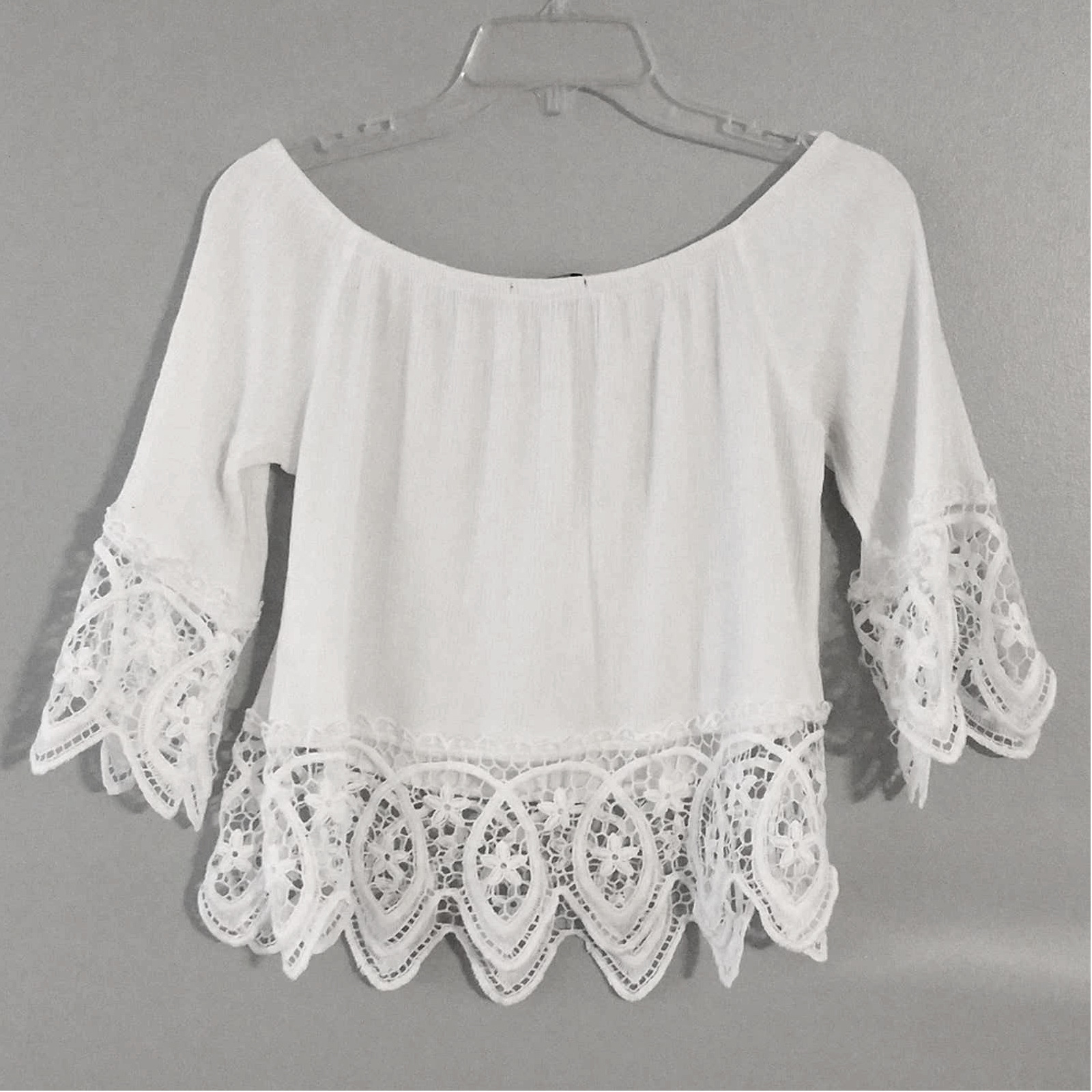 Ambiance White Lacey Fairycore crop top - image 2