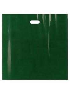 """Plastic Bags Dark Green Shopping Merchandise Retail Gift 500 Diecut 20"""" x 20 x 5"""