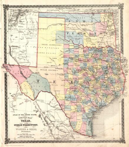 Fabulous 1872 TEXAS-IT County Map~Warner /& Beers~Print~24x36