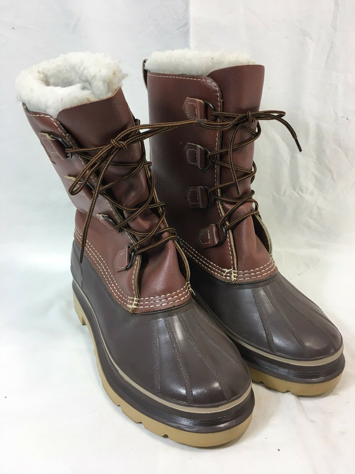 KAMIK WATERPROOF PAC FELT LINERS Damenschuhe 7 SNOW Stiefel BROWN LEATHER LEATHER BROWN RUBBER CANADA b0263a
