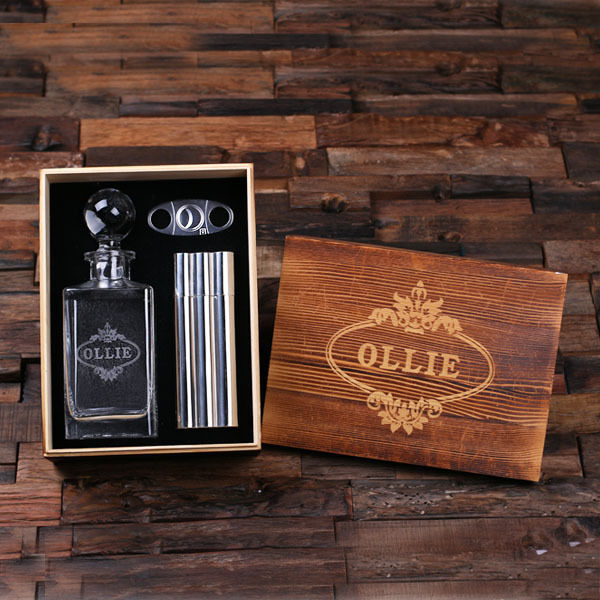 Personalized Decanter w Round Lid, Metal Cigar Cutter, Cigar Holder, Flask, Box