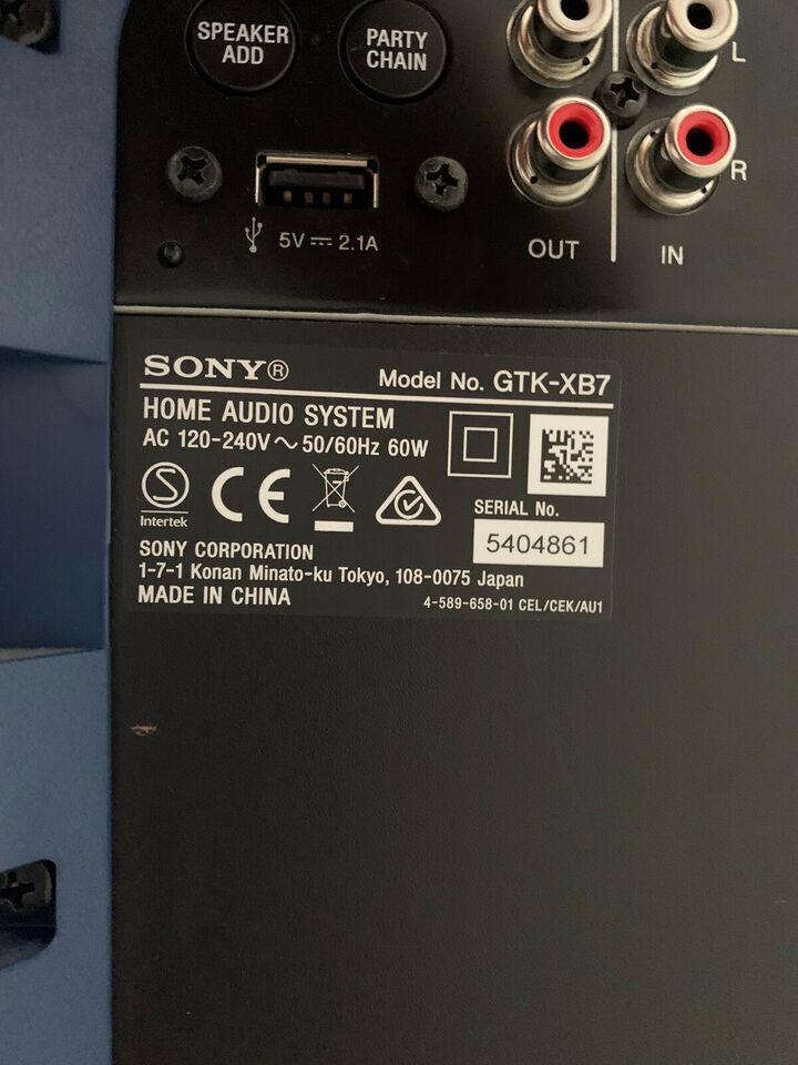 Højttaler, Sony, GTK-XB7