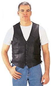 NEW Mens Premium Leather Motorcycle Vest