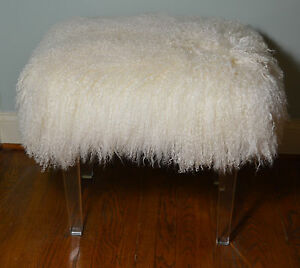 Real Natural White Mongolian Lamb Fur Stool Acrylic Legs