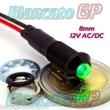 SPIA LED VERDE 12V DC NERA FLAT 8mm IP67 auto moto camper nautica indicato light