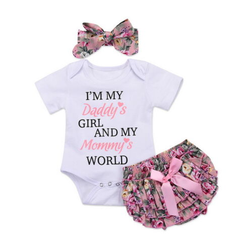 UK Newborn Baby Girl 3Pcs Outfits Romper Tops Shorts Headband Set Infant Clothes