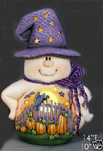 Ceramic Bisque Ready to Paint Fence Scene Ghost Witch~electric included