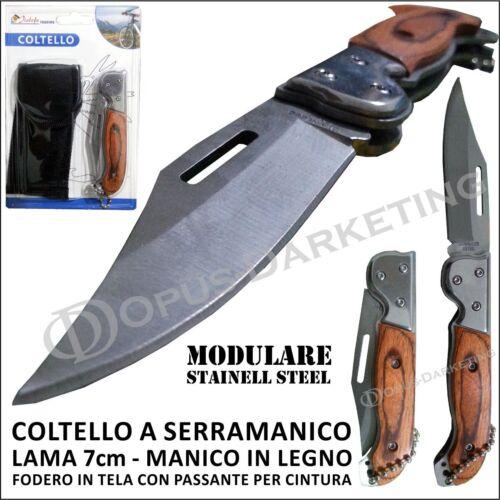 MINI COLTELLO COLTELLINO TEMPERINO SISTEMA MODULARE PIEGHEVOLE LAMA 7cm FODERO