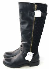 Penny Loves Kenny Womens Dallas Knee High Quilted Moto Boot Black Size 8.5 M