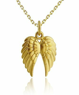 Angel Wing Necklace - 24K Gold Plate 925 Sterling Silver - Gold Angel Wings NEW
