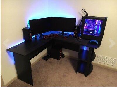 Office Corner Desk Black L Shaped Workstation Computer Desk With  Bookshelves NEW
