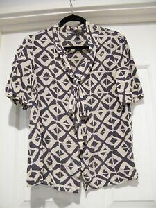 16957a7d31520a AS NEW SPORTSCRAFT Blue and White Silk Blouse Shirt Collarless ...