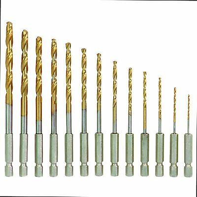 6.5mm New 13x HSS Drill Metal Hex Shank Bits Set Titanium Coated 1.5mm