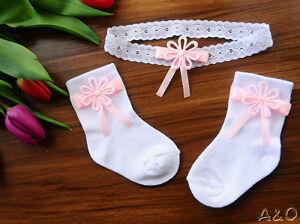 Baby UnermüDlich Baby Set Haarband & Socken 50 56 62 68 74 80 86 92 Stirnband Weiß Taufe Söckchen