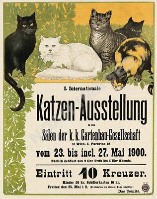 Katzen vintage german cat show event travel poster repro 16x20