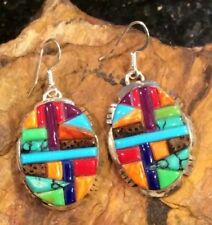 Native American Jewelry Sterling Gemstone Inlay Cobblestone Navajo Earrings