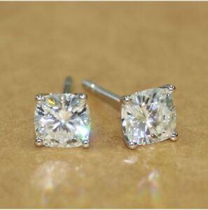 1Ctw-Cushion-Cut-Moissanite-Solitaire-Stud-Earrings-14K-White-Gold-Finish