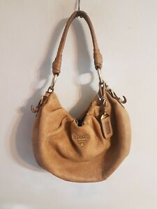 f08886799d14 Image is loading Prada-Cervo-Lux-Leather-Brown-Hobo-Bag-Handbag-