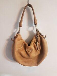 6c7e8294749cd7 Image is loading Prada-Cervo-Lux-Leather-Brown-Hobo-Bag-Handbag-