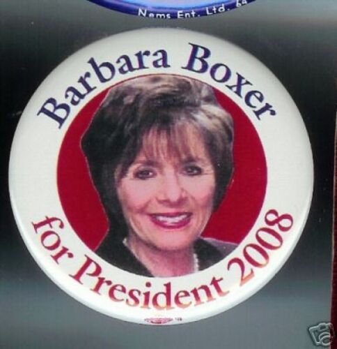 Barbara BOXER pin 2008 PRESIDENT California Democratic Senator pinback