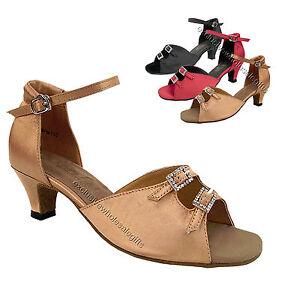 "Brand New Black T-Strap Ballroom Tango Salsa Latin Dance Shoes 3/"" Heeled Women"