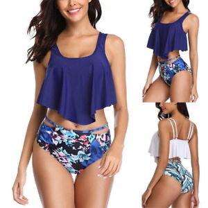 Damen-Push-up-Blumen-Hohe-Taille-Bikini-Set-Zweiteiligen-Badeanzug-Bademode-H-J