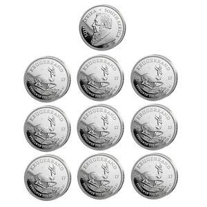 10 x 1 oz Silber Krügerrand 2017 - 1 Rand Südafrika - 50 Jahre Jubiläum