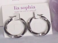Beautiful Lia Sophia Twist & Shout Silver/black Hoop Earrings,