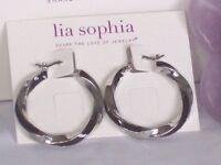 Beautiful Lia Sophia Twist & Shout Silver/black Hoop Earrings,